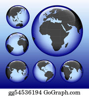 Six-Spheres-Balls-Illustration-With - Shiny Earth Map