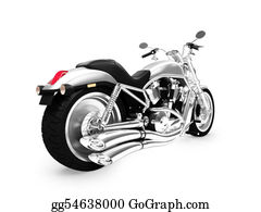 Motorcycle - Isolated Motorcycle Back View 01
