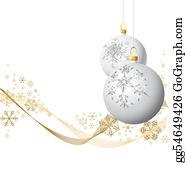 Christmas-Gold - White Christmas Bulbs With Golden Snowflakes On White Background