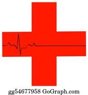 Heart-Surgery - First Aid Symbol With Flatline Heart Rhythm