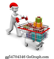 Trolley - Celebration Christmas Or Buying Gift Shopping Concept