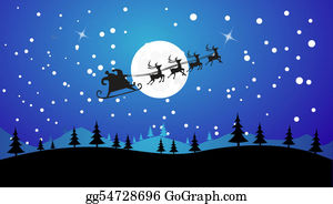 Reindeer-Christmas-Silhouettes - Flying Santa And Christmas Reindeer