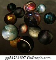 Six-Spheres-Balls-Illustration-With - Worlds In Deep Space
