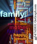 Illustration-With-Happy-Family - Family Word Cloud Glowing