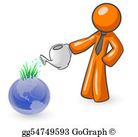 Ecological-Awareness - Orange Man Watering The Earth
