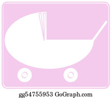 Babies-And-Toddlers-Silhouettes - Pink Baby Pram Or Stroller Design - Illustration