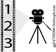 Movie-Production - Numbered Film Strip And Movie Camera With Lights