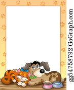 Furry-Tail - Frame With Cute Cat And Dog