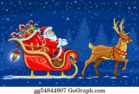 Christmas-Santa-Sleigh-And-Reindeer - Christmas Santa Claus Moving On The Sledge With Reindeer And Gifts - Vector Illustration