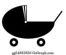 Babies-And-Toddlers-Silhouettes - Silhouette Of A Baby Pram Or Stroller