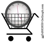 Time-For-Shopping - Shopping Cart With A Clock - Concept Of Buying Time
