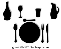 Lunch - Utensils In Silhouette