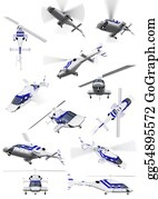 Helicopter - Collage Of Isolated Helicopter