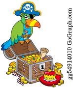 Treasure - Big Treasure Chest With Pirate Parrot