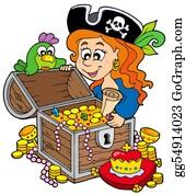 Treasure - Pirate Woman Opening Treasure Chest