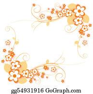 Orange-Border - Flower Pattern