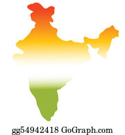 Map-Of-India - Map Of India In Tri Colours, Green, White, Orange