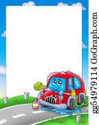 Wash - Frame With Cartoon Car Wash