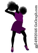 Cheerleader - African American Cheerleader Silhouette On A White Background