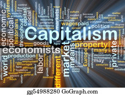 Economy - Capitalism Management Word Cloud Glowing