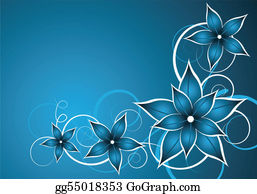 Vintage-Floral-Blue-Frame-Vector - Blue Flower Vector