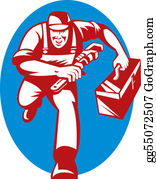 Plumbing - Illustration Of A Plumber With Monkey Wrench And Toolbox Running Toward The Viewer