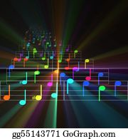 Sheet-Music - Colorful Notes Sheet Music Glowing