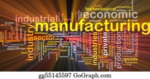Mining - Manufacturing Word Cloud Glowing