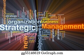 Management - Strategic Management Word Cloud Glowing