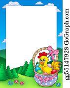 Basket - Easter Frame With Basket And Chicken
