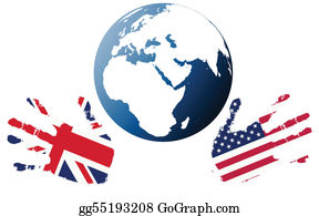 Globe-Flags - Earth Globe With Stylized Flags Of Us And Uk