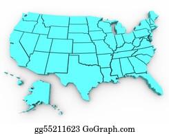 Map-Of-Kansas-Usa - U. S. A. Map - United States 3d Render