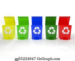 Ecological-Awareness - Recycle Bins In Yellow,green,blue And Red