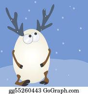 Antler - Snowy Antler Standing In Snow