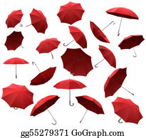 Umbrella - Many Red Flying Umbrellas
