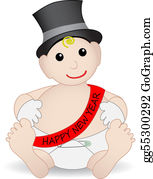 Safety-Pins-And-Diaper - Adorable Baby New Year Wearing Hat And Gloves
