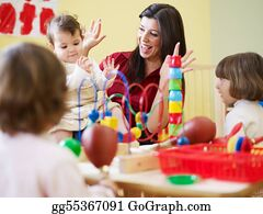 Teacher - Three Little Girls And Female Teacher In Kindergarten