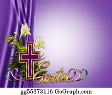 Catholics - Easter Floral Border Cross And Lilies