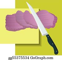 Butchers-Meat - Meat Knife In An Yellow Background