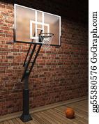 Basketball-Hoop - Old Brick Wall And Basketball