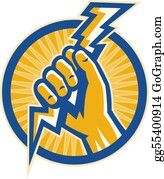 Lightning-Bolt - Hand Hold A Lightning Bolt Of Electricity Set Inside A Circle.