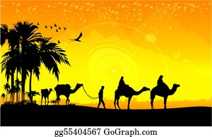 Camel - Camel Caravan And Palms