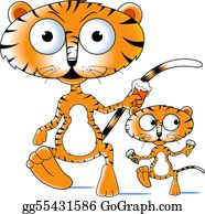 Cute-Animal-Cartoon-In-The-Jungle - Tiger And Cub