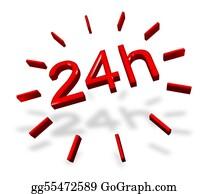 24-Hour - 24 Hours Around The Clock Symbol