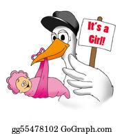 Baby-Girls - Stork With Baby Girl
