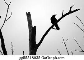 Birds-On-The-Tree-Silhouette - Spooky Blackbird