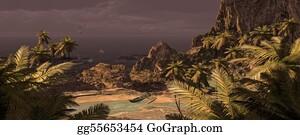 Canoe - Tropical Island And Outrigger Canoe