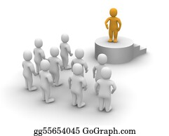 Public-Speaking - Speaker And Audience. 3d Rendered Illustration.