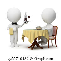 Butler - 3d Small People - Waiter And Client