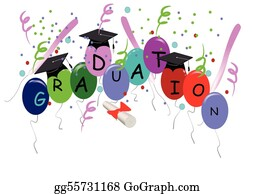 Graduation - Graduation With Balloons On White